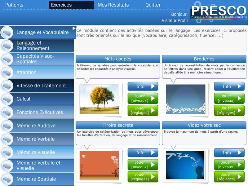 RECOS, logiciel de remédiation neurocognitive (capture d'écran)
