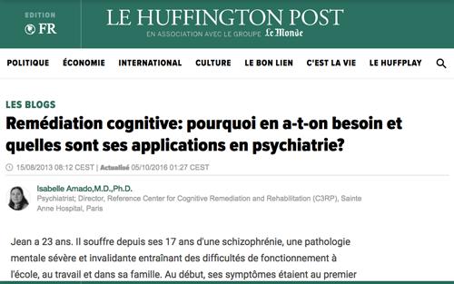 Huffingtonpost, Remédiation cognitive: pourquoi en a-t-on besoin et quelles sont ses applications en psychiatrie?