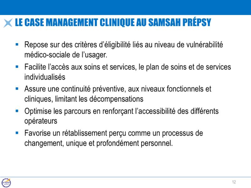 Le case management clinique au samsah prépsy