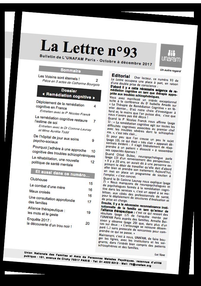 La lettre de l'UNAFAM Paris - Dossier Remédiation Cognitive