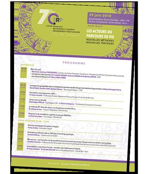 Programme de la 7ème journée du Centre Ressource  Remédiation Cognitive et Réhabilitation Psychosociale - Le Acteurs du parcours de vie