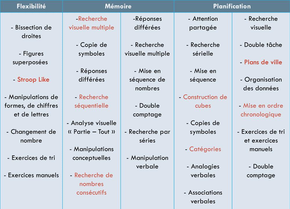 Flexibilité - mémoire - planification