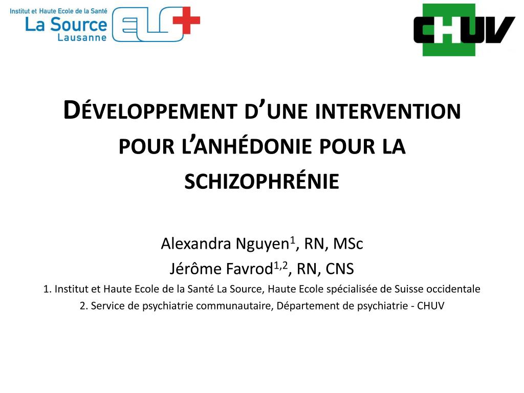 l' anhédonie pour la schizophrénie
